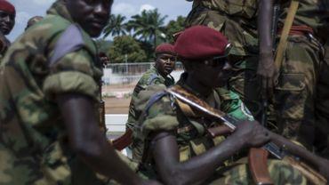 Des soldats tchadiens de la FOMAC, la force multinationale de l'Afrique centrale