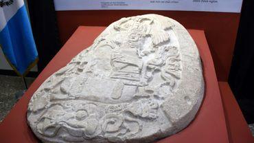 Un autel vieux de 1.500 ans récemment découvert sur un site archéologique du nord du Guatemala, au musée d'archéologie et d'ethnologie de Guatemala city, le 12 septembre 2018