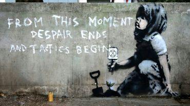 Peinture murale attribuée par des experts au célèbre artiste britannique Banksy. Londres, 26 avril 2019