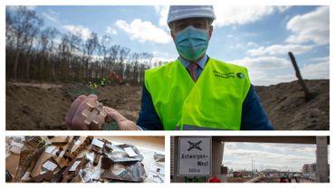 Bart De Wever présente une trouvaille découverte sur le chantier de l'Oosterweel, artefacts et image des travaux autoroutiers