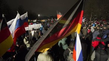 Manifestation du mouvement anti-islam Pegida, le 5 janvier 2015 à Dresde, en Allemagne