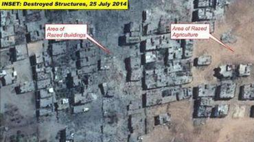 Image satellite d'une portion de la bande de Gaza, située dans le nord-est, 17 jours après le lancement de l'offensive le 8 juillet