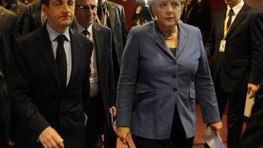 La Chancelière allemande Angela Merkel et le président Nicolas Sarkozy, le 23 octobre 2011 à Bruxelles