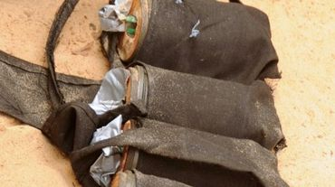 Une ceinture d'explosifs appartenant à des combattants islamistes de Boko Haram, trouvée par la police tchadienne à N'Djamena, le 29 juin 2015 après un double attentat suicide qui a tué 33 personnes le 5 juin dans le secteur
