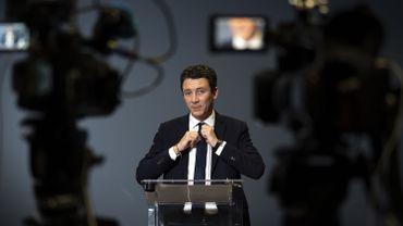 L'ancien porte-parole du gouvernement et candidat de la République en Marche (LREM) pour la prochaine élection à la mairie de Paris 2020, Benjamin Griveaux, annonce son retrait de la campagne des maires au siège de l'AFP à Paris le 14 février 2020.