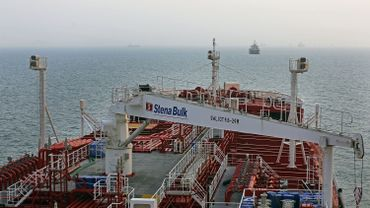 Le pétrolier Stena Impero, battant pavillon britannique, immobilisé à proximité d'un port iranien