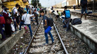 Migrants macédoniens cherchant à entrer en Europe.