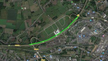 E19 entre Mons et Jemappes, passage sur une seule voie