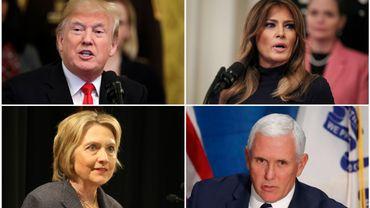 Donald Trump, Hillary Clinton, Melania Trump et Mike Pence