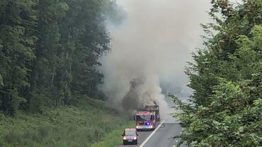 Camion en feu sur l'E42