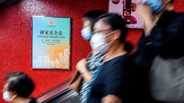 Affiche du gouvernement chinois dans une gare de Hong Kong, le 29 juin 2020
