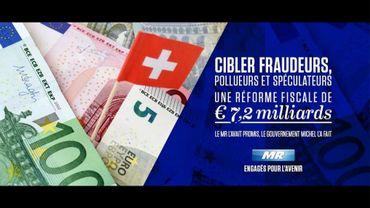 Drapeau suisse pour illusrtrer la fraude fiscale, l'image utilisée par le MR sur Facebook fâche la Suisse