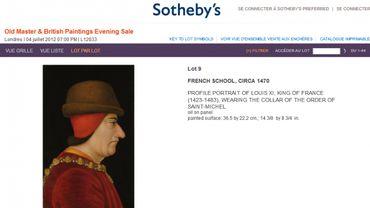 Le portrait de Louis XI sur le site de Sotheby's