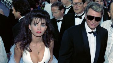 Johnny Hallyday et Adeline Blondieau en mai 1990