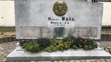 Le monument, récemment vandalisé. Les plaques métalliques sur lesquelles figuraient les noms des 95 victimes ont été volées.