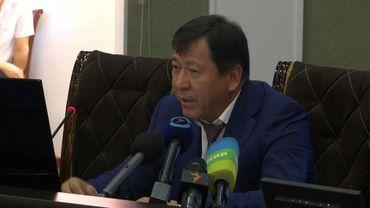 Le ministre tadjik de l'Intérieur Ramazon Hamro Rahimzoda lors d'une conférence de presse le 30 juillet 2018 à Douchanbe
