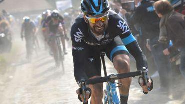 Bradley Wiggins sur les routes de Paris-Roubaix