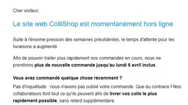 Coronavirus: Colruyt ferme jusqu'au 7avril, Collishop, sa boutique en ligne, en raison de l'affluence
