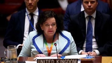 Karen Pierce lors d'une réunion du conseil de sécurité de l'ONU à New York le 20 août 2019