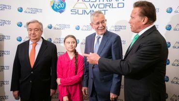De gauche à droite: le secrétaire général de l'ONU Antonio Guterres, la militante pour le climat Greta Thunberg, le président autrichien Alexander Van der Bellen et l'acteur Arnold Schwarzenegger avant une conférence à Vienne en Autriche, le 28 mai 2019