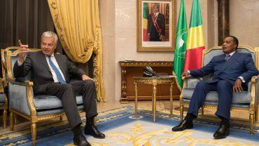 Didier Reynders avec le président de la République du Congo Denis Sassou Nguesso