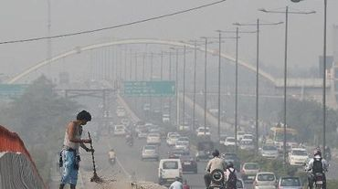 New Delhi, le 24 octobre 2014, sous la pollution