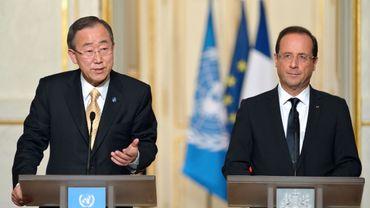 Le secrétaire général de l'ONU, Ban Ki-moon, en visite à Paris, et François. Hollande