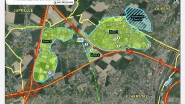 La carte du parc d'activités économiques des Hauts-Sarts, avec sa zone d'extension