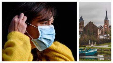 Masque chirurgical et centre du village de Clabecq (entité de Tubize)