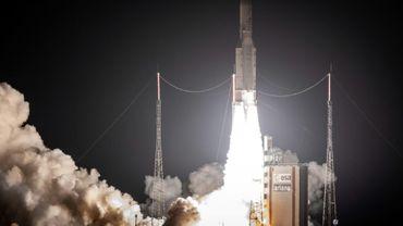 Décollage de la fusée Ariane 5, le 19 octobre 2018 à Kourou, en Guyane française