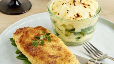 Cordon bleu revisité et gratin de pommes de terre au chaource