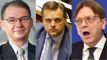 De gauche à droite : Phillipe Lamberts, Philippe De Backer et Guy Verhofstadt.