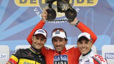 Tom Boonen, Fabian Cancellara et Philippe Gilbert, le podium 2010 du Ronde avait fière allure