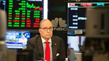 Larry Kudlow, un chroniqueur économique conservateur, le 8 mars 2018 à  New York sur le plateau de la chaîne CNBC.