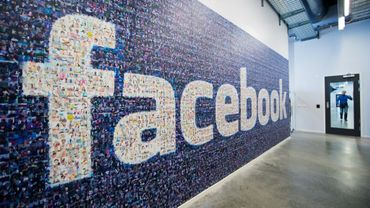 Photo prise le 7 novembre 2013 du logo de Facebook composé avec les portraits d'utilisateurs du réseau social, à Lulea (Suède)