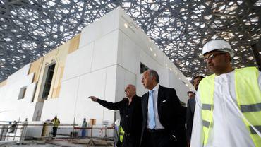 Jean Nouvel et Laurent Fabius au Louvre Abou Dhabi en janvier 2016