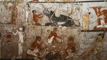 Peinture murale bien conservée d'une tombe d'une prêtresse de l'ancien empire, au sud du Caire, le 3 février 2018