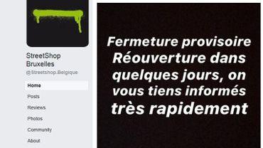La page Facebook du magasin annonce sa fermeture depuis ce vendredi et au moins pour quelques jours