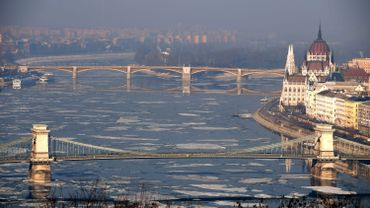 A Budapest view is seen with the parliament building and the 'Lanchid' (Chain Bridge) (down) and the Margaret Bridge in downtown on January 24, 2017