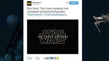 """""""Les principales prises de vue de """"Star Wars: The Force Awakens"""" sont terminées"""", explique le compte Twitter officiel de Star Wars"""