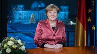 La chancelière allemande Angela Merkel enregistre ses voeux à la télévision à Berlin le 30 décembre 2014
