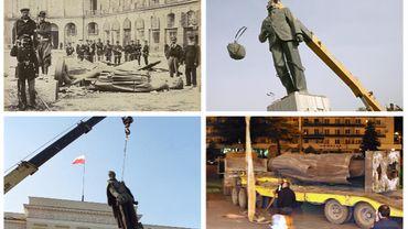 Démontage de quelques statues de personnages emblématiques
