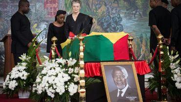 Nane Maria, la veuve de Kofi Annan, lors de la cérémonie de funérailles nationales de l'ancien secrétaire général des Nations unies, le 12 septembre 2018 à Accra, au Ghana.
