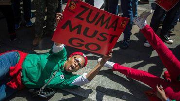 Une manifestante appelle au départ de Jacob Zuma, le 27 septembre 2017 à Johannesburg