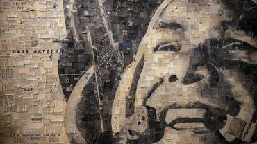 Portrait de Youri Gagarine, oeuvre de l'artiste russe Alexey Begak (avril 2021)