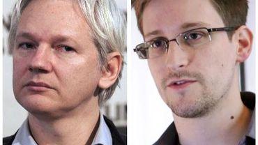 Photomontage montrant Julian Assange (g) et Edward Snowden (d)