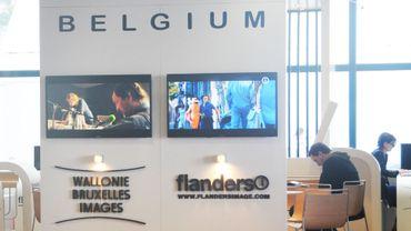 Un stand de Wallonie Bruxelles Images photographié au festival de Cannes le 16 mai 2013.