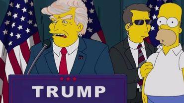 """Donald Trump tel qu'il apparaît dans un épisode de 2015, moqué avec un slogan absurde : """"Amérique, tu peux être mon ex-femme""""."""