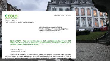 Pas d'affichage électoral à Verviers : recours d'Ecolo