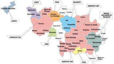 """Les opérateurs avec lesquels le TEC-Hainaut travaille pour le transport """"porte-à-porte"""" des PMR dans les zones Centre, Mons Borinage et Hainaut occidental"""